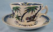 Kenya Blue Cup And Saucer Set Wood And Sons Woods Ware Hand Painted Palm Trees O4