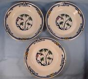 3 Kenya Blue Coupe Soup Bowls Wood And Sons Woods Ware Hand Painted Trees O4