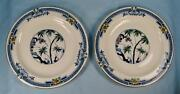 2 Kenya Blue Salad Plates Wood And Sons Woods Ware Hand Painted Palm Trees O4