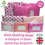 Pink Postage Mailing Bags Postal Coloured Plastic Parcel Packaging Shipping Bags