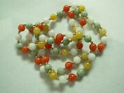 Stunning 28 Multi-color Green White Yellow Red Jade And 14k Y/g Bead Necklace