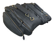 Motorcycle Luggage Storage Panniers Saddle Bags Black Bridle Leather Expandable3