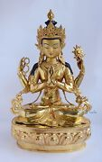 Gold Face Painted Fine Quality 19 Chenrezig Buddha Copper Gold Gilded Statue