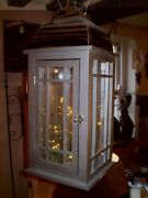 Large German Nickle And Timber Hanging Led Light Or Candle Or T-lite Lantern