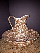 Antique Royal Crownford Ironstone Staffordshire Brown Calico Pitcher Wash Basin