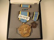 Air Force Aerial Achievement Medal Ribbon Bar Lapel Pin Miniature And Case No Name