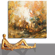 Painting Landscape Large Abstract Canvas Land Nature Brown Shades 55 X 55