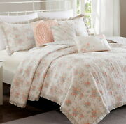 Pink Rose Ruffle 6p Full Queen Quilt Set  Cottage Serendipity Chic Shabby
