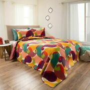 Abstract Paisley Bubbles Bright Quilted Blanket Bedspread Twin Queen King