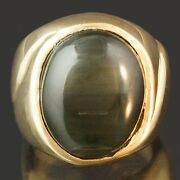 Solid 14k Yellow Gold And 10.70ct Cabochon Tourmaline Green Catand039s Eye Estate Ring