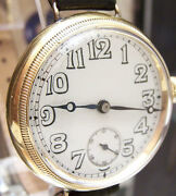 And03923 Antique Solid 18k Gold Military Trench Style Watch Borgel Type Case Serviced
