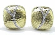 14 Kt Yellow Gold Button Earrings With .50 Ct Diamonds.
