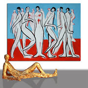 Modern Painting Figure Xxl Lifesize Figures Humans Red Carpet 71 X 55 Inches
