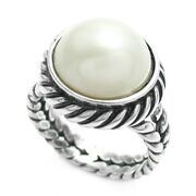 925 Sterling Silver Freshwater Pearl Twist Rope Ring Size 5-10