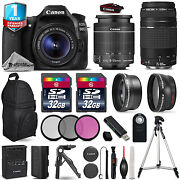 Canon Eos 80d Dslr Camera + 18-55mm Is + 75-300mm Iii + 3pc Filter +1yr Warranty