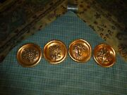 Vintage Embossed Copper Grapes And Flowers Wall Hanging Sconce Plaque Set Of 4 Vg