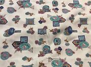 6 1/2 Yards Of Vintage Blue With Flowers And Signs Print Cotton Fabric