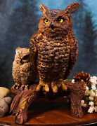 Transient Wisdom Of The Forest Great Horned Owl And Owlet Decorative Figurine