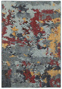 Sphinx Blue Shaded Faded Splotched Splashes Contemporary Area Rug Abstract 8036c