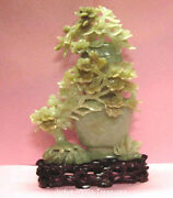 Jade Carving Medium Green Color Vase With Flowers 8 X 5 Inches  97