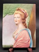 Large ANTIQUE ITALIAN Hand-Painted Porcelain Plaque of Young Maiden  c. 1930
