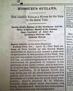 Outlaws Dick Liddil And Frank James Missouri Trial Jesse Gang 1881 Old Newspaper