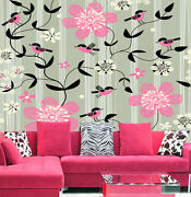 3d Leaves Red Flower1c Wall Paper Murals Wall Print Decal Wall Deco Aj Wallpaper