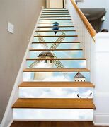 3d Sky Windmill 31 Stairs Risers Decoration Photo Mural Vinyl Decal Wallpaper Us