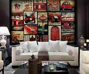 3d Red Tram Phone Booth Wall Paper Wall Print Decal Wall Deco Indoor Wall Murals