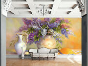 3d Mega Purple Flowers Vases 72 Wall Paper Wall Print Decal Wall Aj Wall Paper
