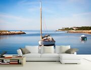 3d Boat Floating Sea Wall Paper Wall Print Decal Wall Deco Indoor Wall Murals