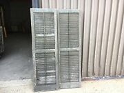 Great Pair Victorian Louver House Window Shutters Old Mustard Paint 67.25 X20.25