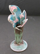 Art Pottery Vase ~ 6 1/2 inches ~ green, pink, brown (K1)