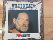 Willie Nelson Kris Kristofferson And Johnny Cash Signed Lp Coa + Proof Highwaymen