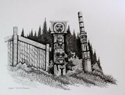 Michael Duncan Fine Ink Original Drawing On Board Hand Signed Totems 1990