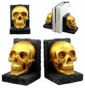 Pirateand039s Treasure Golden Skull Bookends Set 7h Medieval Floral Gothic Statue