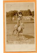 Real Photo Postcard - Rodeo Cowgirl Marie Wolfe Trick Riding Doubleday Photo