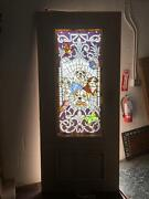Beautiful 36 X 80 Custom Solid Mahogany Stained Glass Door With Dogs