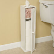 Free Standing Country Cottage White Toilet Paper Storage Cabinet Tower Bathroom