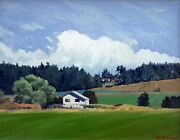 Keith Hiscock Original Oil Painting On Canvas Farm House Victoria Bc 1980's