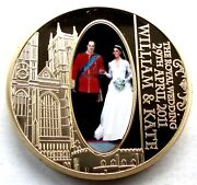 William And Kate The Royal Wedding Bu Proof Medal 40mm 32g Gold Plated B1