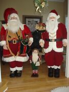 6 Ft. Life Size Deluxe Santa Claus W/burlap Sack Of Toys And Animated/moving Elf