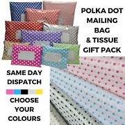 Polka Dot Tissue Paper And Mailing Bag Mix Pack - Polythene Post Gift Wrapping Kit