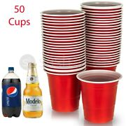 American 16oz Plastic Red Party Cups Beer Pong - Disposable Drinking Cup 50/100