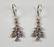 Sterling Silver Christmas Tree W/ Red Stone Leverback Holiday Earrings Free Ship
