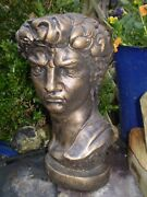 Vintage English 1930and039s Ceramic Garden Statue Bust Of King David