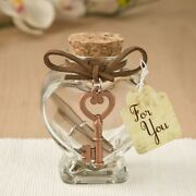 30 Heart Message Jar With Copper Key Accent Wedding Bridal Shower Party Favors