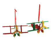 Wooden North Pole Plane Christmas Ornaments 5-1/2-inch 2-piece