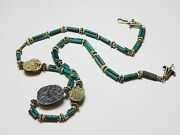 Zurqieh - 50w- Ancient Egypt. Necklace Of Faience Beads And Scarabs. 1400 B.c