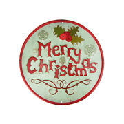 Metal Round Merry Christmas Sign With Mistletoe Mint Green 11-3/4-inch